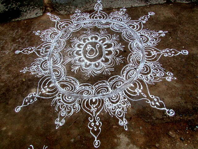 Freehand Rangoli Designs Pongal rangoli design, kolam, pokalam, Beautiful Pongal Kolam and Pongal Rangoli Designs mandala